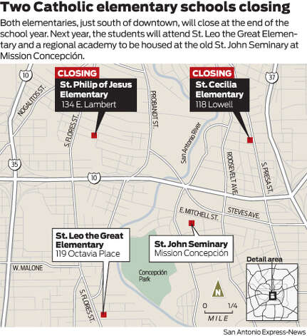 Both elementaries, just south of downtown, will close at the end of the school year. Next year, the students will attend St. Leo the Great Elementary and a regional academy to be housed at the old St. John Seminary at Mission Concepción.