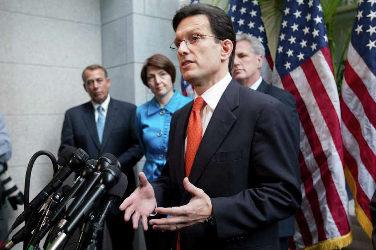 House Majority Leader Eric Cantor of Va., accompanied by fellow GOP leaders, gestures during a news conference on Capitol Hill in Washington, Wednesday, Feb. 15, 2012 to discuss the payroll tax cut negotiations. From left are, House Speaker John Boehner of Ohio, Rep. Cathy McMorris Rodgers, R-Wash., Cantor, and House Majority Whip Kevin McCarthy, R-Calif. (AP Photo/J. Scott Applewhite)