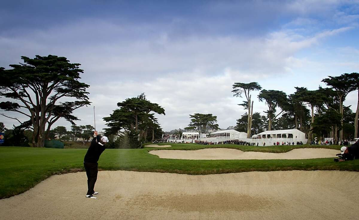 Jay Don Blake hits out of a trap on the18th fairway during the Schwab Cup Championship final round at Harding Park Golf Course in San Francisco, Calif., on Sunday, November 6, 2011.