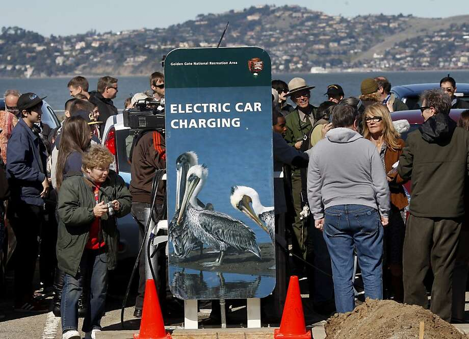 The wind turbines will also help power a new electric car charging station at East Beach. The Crissy Field Center, an urban environmental education center at East Beach in the Presidio of San Francisco, Calif., unveiled another of its five wind turbines making it one of the greenest buildings in America's national park system. Photo: Brant Ward, The Chronicle