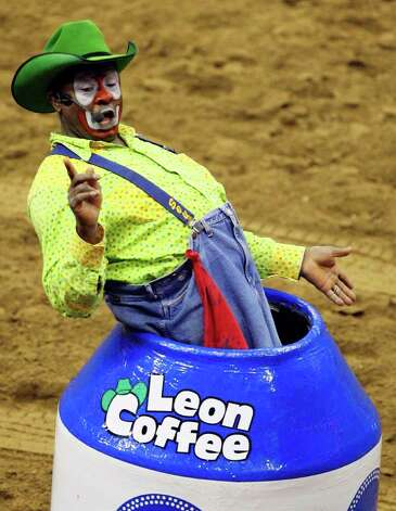 Bullfighter Leon Coffee, from Wimberley, entertains the crowd during the Bull Riding event Sunday, Feb. 3, 2008 at the 59th Annual San Antonio Stock Show & Rodeo at the AT&T Center. Photo: EDWARD A. ORNELAS, San Antonio Express-News File Photo / SAN ANTONIO EXPRESS-NEWS