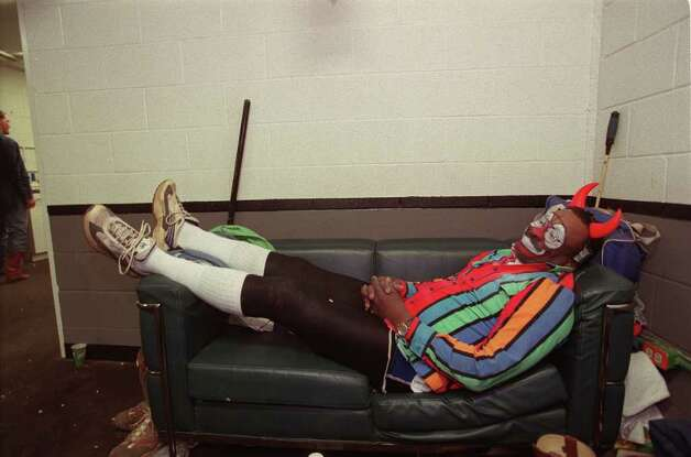 Rodeo clown Leon Coffee rests before making his evening appearance at the Freeman Colisieum Thursday, Feb. 8, 2001. Widely popular Coffee is scheduled to perform in 32 of the 48 adjacent states for the next 11 months. Coffee has performed at the San Antonio Stock Show & Rodeo for the past 20 years. Photo: Anita Baca, San Antonio Express-News File Photo / en