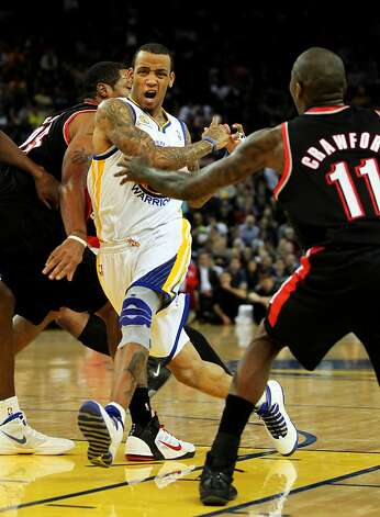 Golden State Warriors' Monta Ellis loses control of the ball as he drives for the basket during the first half of an NBA basketball game, Wednesday, February 15, 2012, in Oakland, Calif. Photo: Lance Iversen, The Chronicle