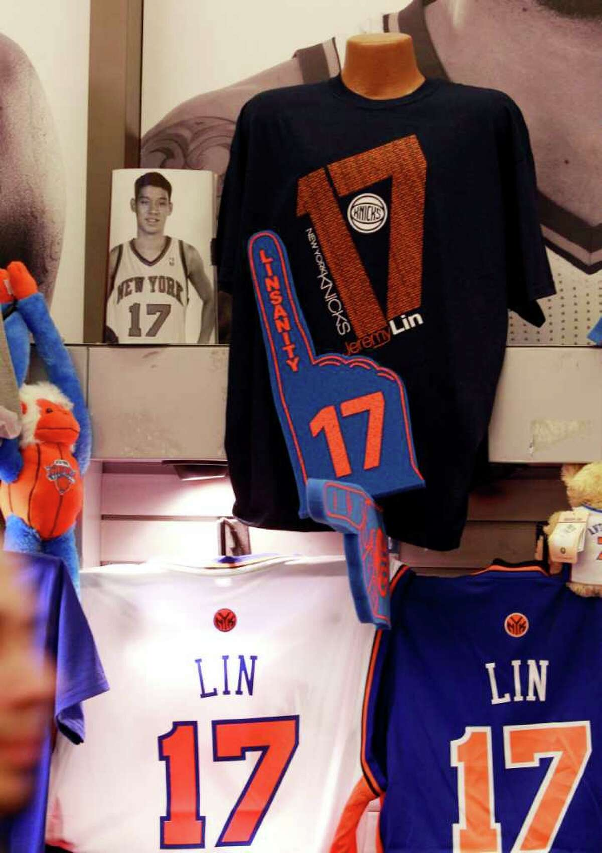 New York Knicks' Jeremy Lin items are on sale before an NBA basketball game against the Sacramento Kings, Wednesday, Feb. 15, 2012, in New York. (AP Photo/Frank Franklin II)