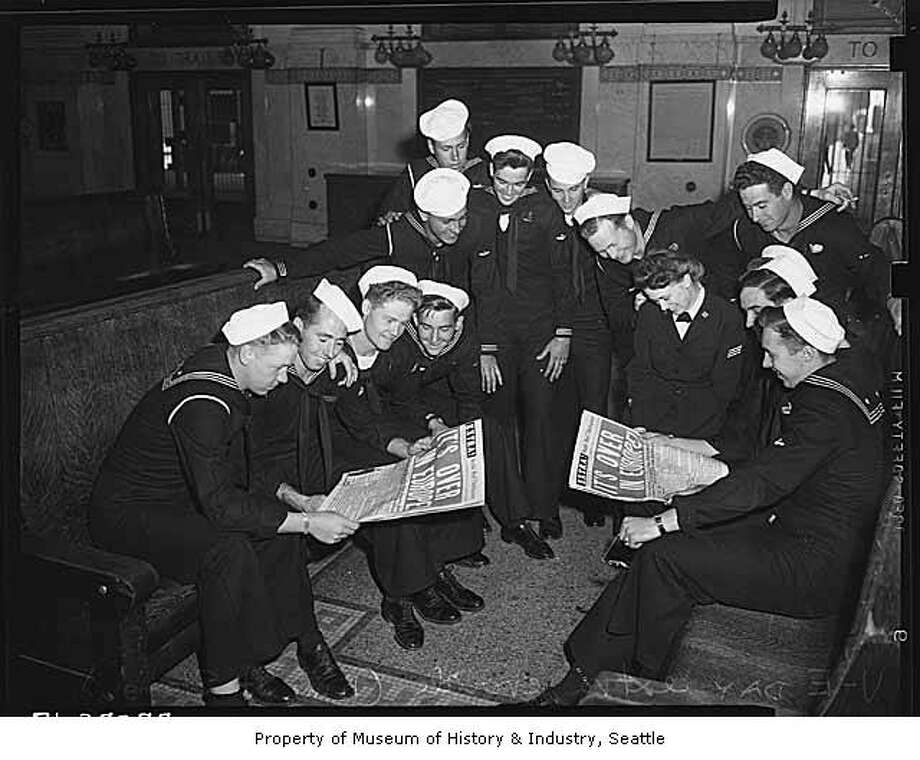 The station was a popular hub for sailors, pictured in May of 1945 reading about 