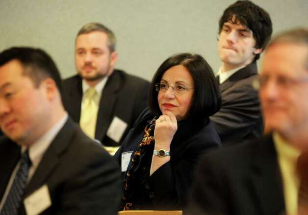 State Senator Toni Boucher listens during the annual Legislative Breakfast at Norwalk Community College on Wednesday, February 15, 2012. Photo: Lindsay Niegelberg / Stamford Advocate
