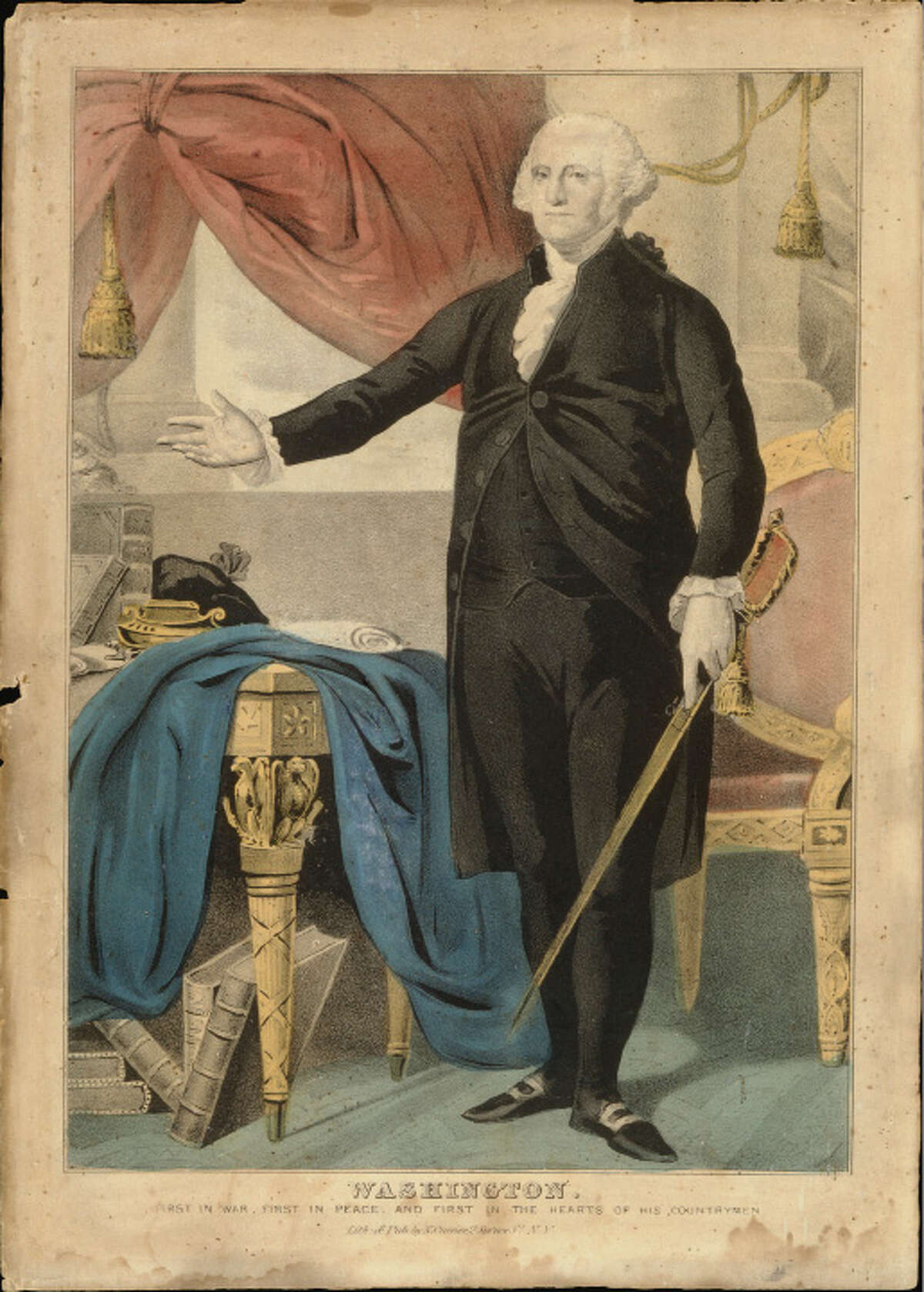 """George Washington (1732-1799) Nathanial Currier 1840 Color lithograph, ht.14"""" x w.10 3/16"""" Albany Institute of History & Art, Gift of Henry W. Snyder, x1940.330.66"""