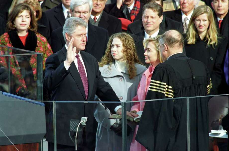 President Bill Clinton is sworn in during the Inauguration Ceremony at the Capitol in Washington, D.C. on Jan. 20, 1997. Photo: William J. Clinton Presedential Library