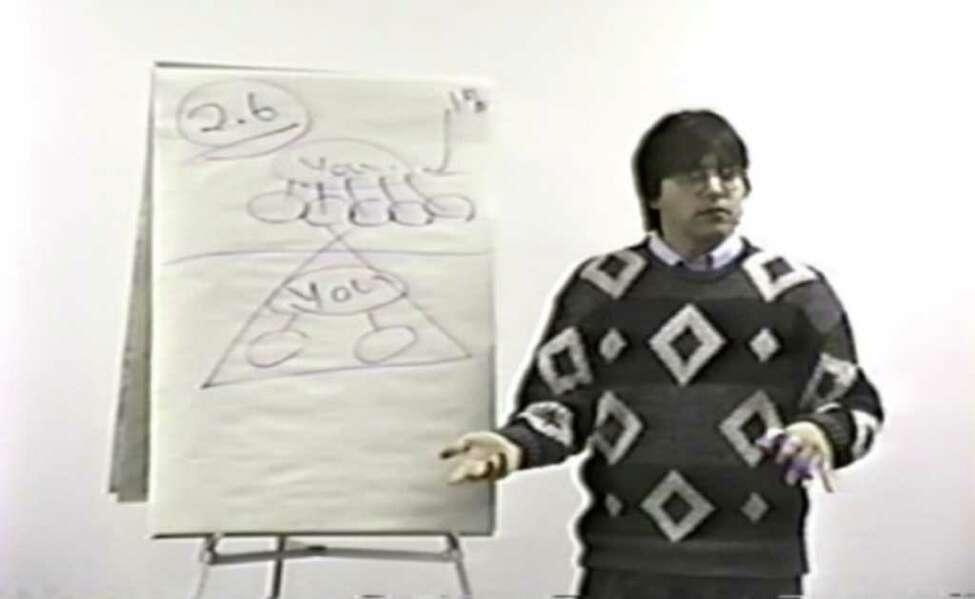 Keith Raniere in 1991 at a Consumers' Buyline training session. (TheFallofNXIVM.com)