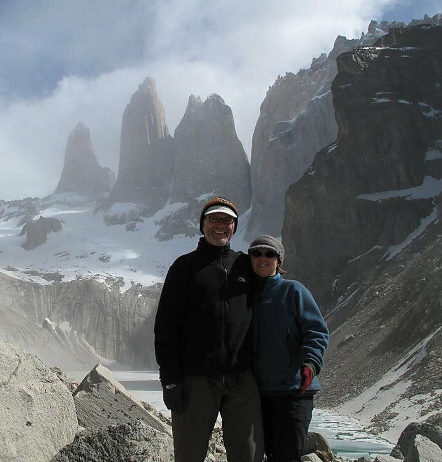 John Gatewood and Catherine White at the base of the Towers, Parque Nacional Torres Del Paine, Chile. Photo: Courtesy John Gatewood