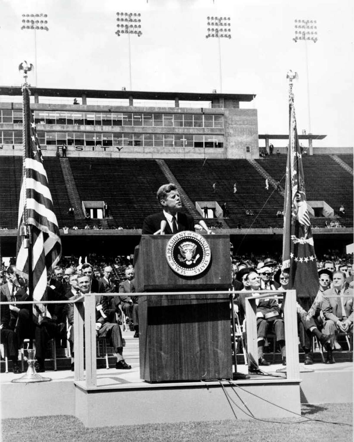 """JFK speaks at Rice At Rice Stadium in 1962, President John F. Kennedy announced plans for the U.S. to go to the moon. Said Kennedy: """"We meet at a college known for its knowledge at a city known for its progress, in a state known for its strength."""""""