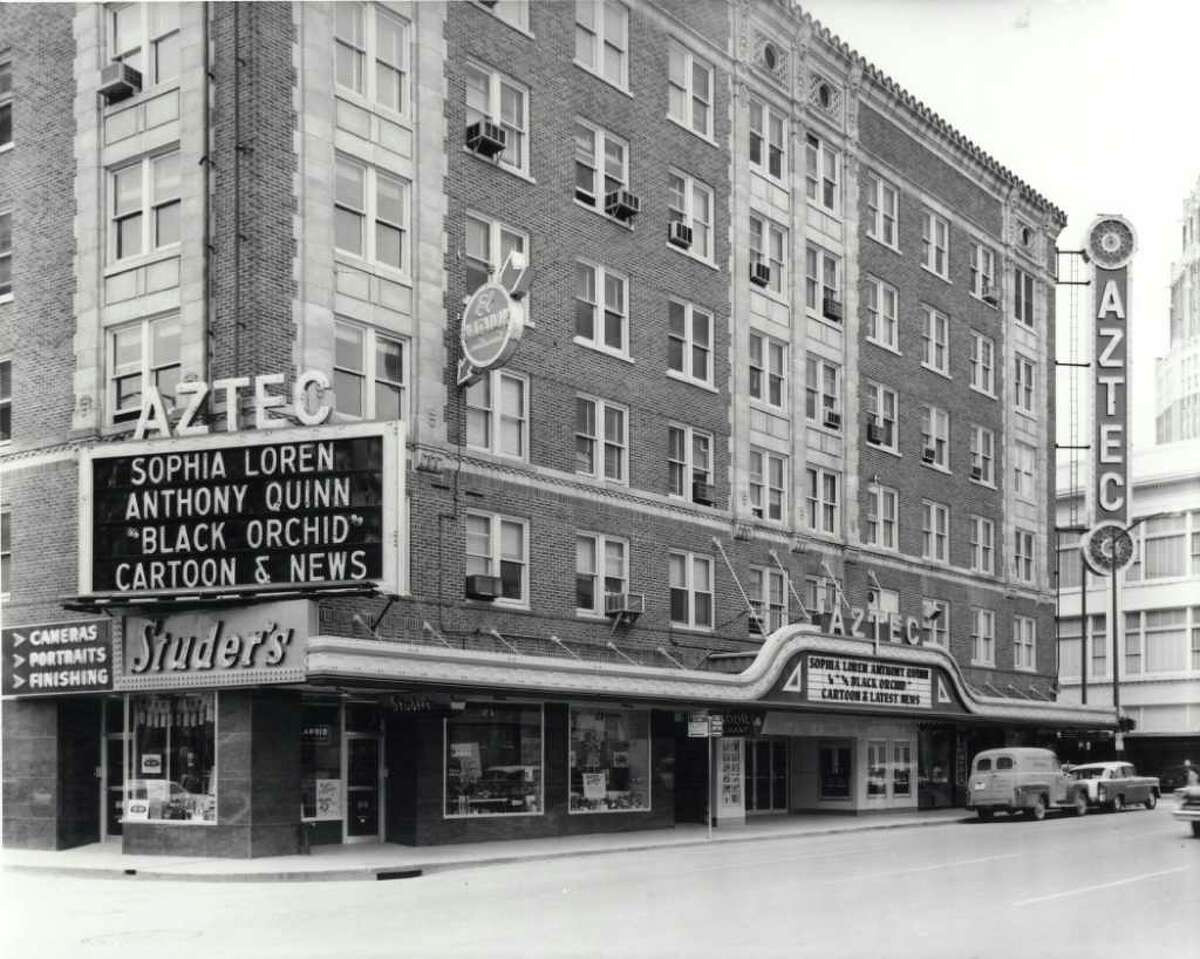 A historic photograph of the Aztec Theatre.