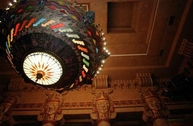 The chandelier at the Aztec Theatre is seen on March 17, 2006. The theater is scheduled to reopen on April 1, 2006. Photo: HELEN L. MONTOYA, Express-News File Photo  / SAN ANTONIO EXPRESS-NEWS