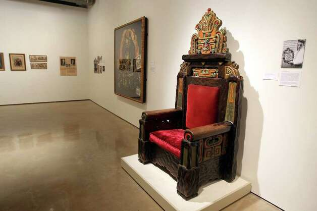 Hand carved throne from the Aztec Theatre is part of the new exhibition, Revolution & Renaissance, Mexico & San Antonio, 1910-2010, at the Museo Alameda. Photographed Tuesday, November 23, 2010. UTSA beat Troy 81-70. (JENNIFER WHITNEY/ special to the Express-News) Photo: JENNIFER WHITNEY, Express-News File Photo  / special to the Express-News
