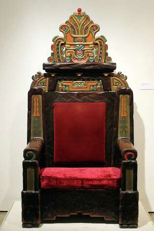 The hand-carved throne from the Aztec Theatre is part of the new exhibition, Revolution & Renaissance, Mexico & San Antonio, 1910-2010, at the Museo Alameda. Photographed Tuesday, Nov. 23, 2010. Photo: JENNIFER WHITNEY, Express-News File Photo  / special to the Express-News