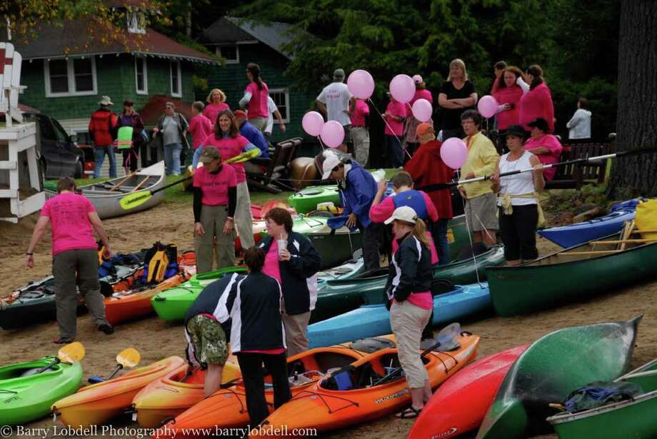 Boaters gather for last fall's record-setting raft event at Fourth Lake in the Adirondacks.