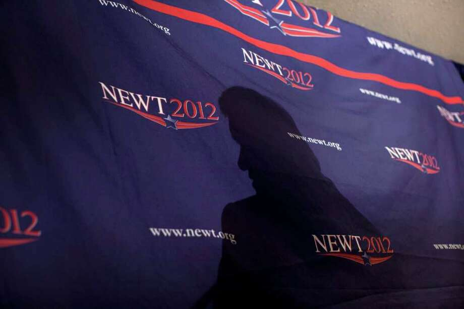 Republican presidential candidate, former House Speaker Newt Gingrich casts a shadow as speaks during a campaign stop with Republican Jewish leaders, Thursday, Feb. 16, 2012, in Los Angeles, Calif. Photo: Evan Vucci, Associated Press / AP