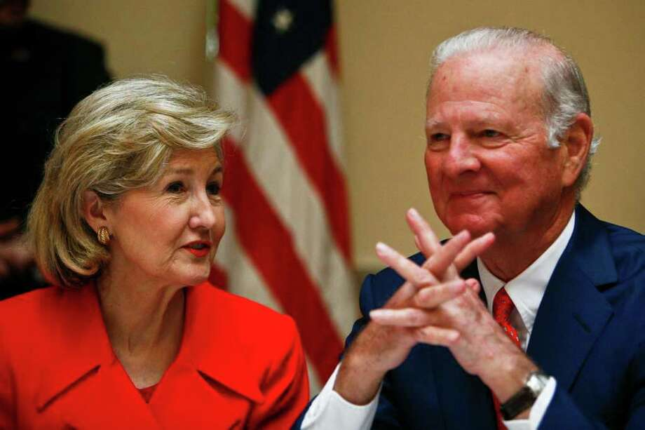 United States Senator Kay Bailey Hutchison sits next to James Baker III during a Greater Houston Pachyderm Club meeting where Baker announced his endorsement for Senator Hutchinson as she makes her bid for the the position of Texas Governor Tuesday, Jan. 19, 2010, in Houston.   ( Michael Paulsen / Chronicle ) Photo: Michael Paulsen / Houston Chronicle