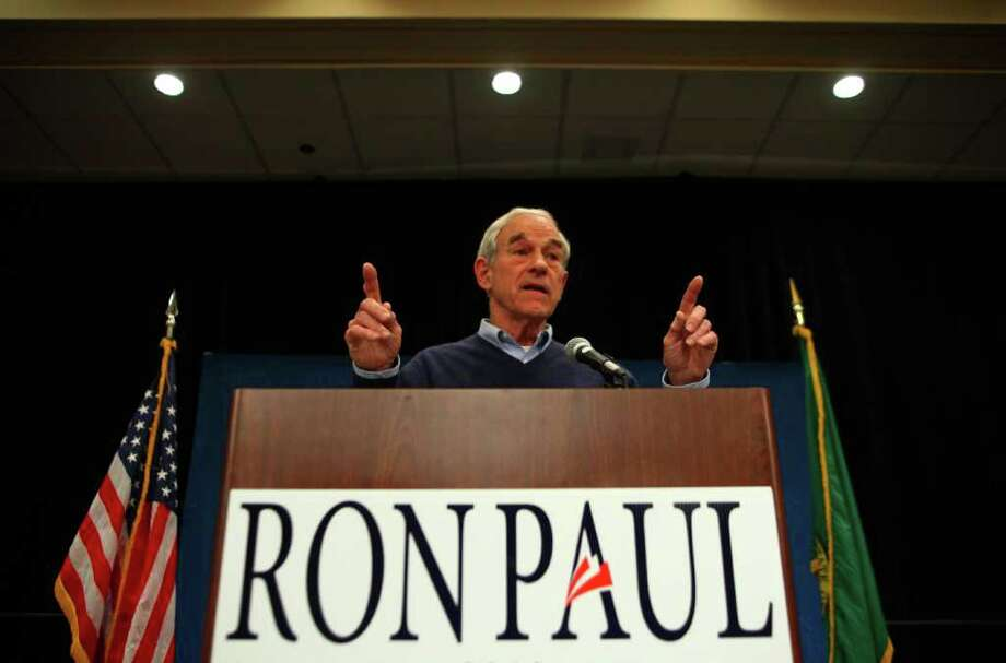 Republican presidential candidate Ron Paul speaks at the SeaTac Double Tree hotel on Thursday February 16, 2012 during an energetic campaign rally. An overflow crowd turned out for the candidate. Photo: JOSHUA TRUJILLO / SEATTLEPI.COM