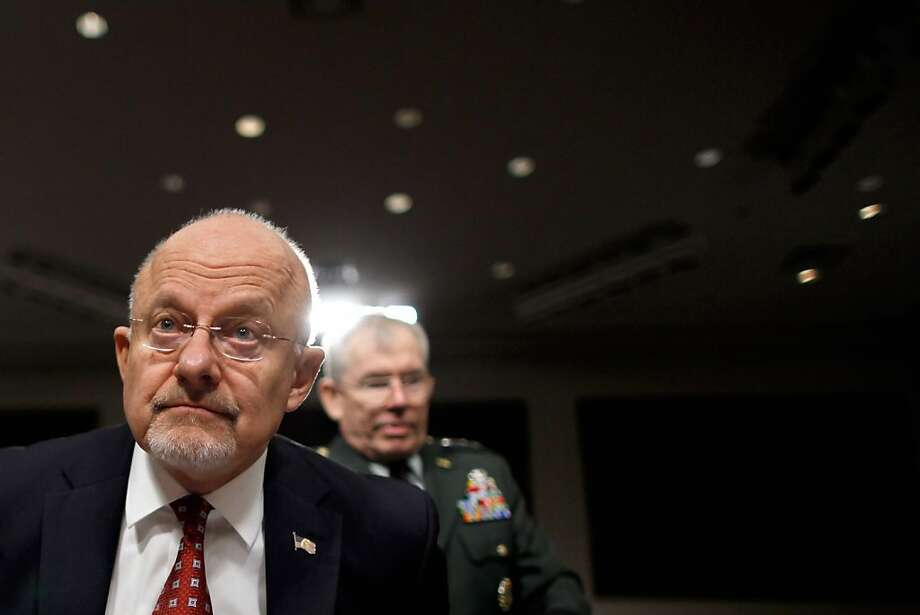Director of National Intelligence James Clapper (L) and Defense Intelligence Agency Director Lt. Gen. Ronald Burgess prepare to testify to the Senate Armed Services Committee on Capitol Hill February 16, 2012 in Washington, DC.  Clapper and Burgess testified about the current and future worldwide threats to the security of the United States. Photo: Chip Somodevilla, Getty Images