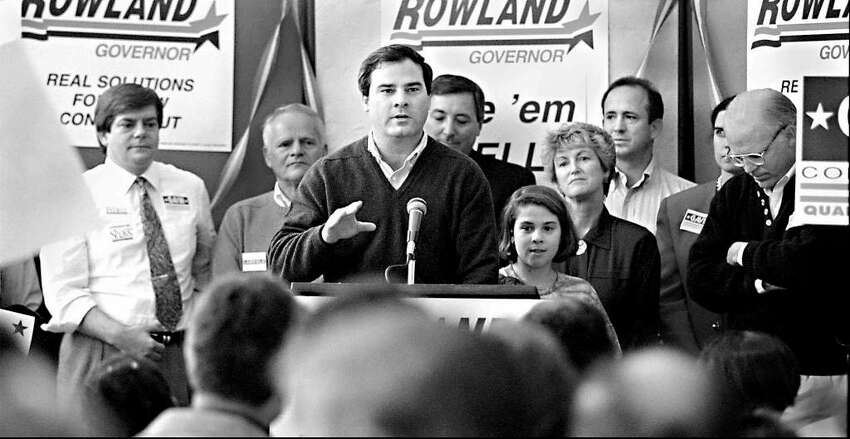 November 6, 1994: Republican candidate for governor John Rowland speaks at a GOP rally in Stamford, along with current Gov. M. Jodi Rell and former U.S. Rep. Christopher Shays, R-4.