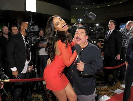 SI swimsuit model Ariel Meredith and Guillermo Rodriguez arrive at Club SI Swimsuit hosted by the Pure Nightclub at Caesars Palace at the Pure Nightclub at Caesars Palace on February 16, 2012 in Las Vegas, Nevada. Photo: Michael Loccisano, Getty Images / 2010 Getty Images