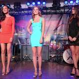 (L-R) SI swimsuit models Ariel Meredith, Jessica Perez and Izabel Goulart onstage at Club SI Swimsuit hosted by the Pure Nightclub at Caesars Palace at the Pure Nightclub at Caesars Palace on February 16, 2012 in Las Vegas, Nevada.