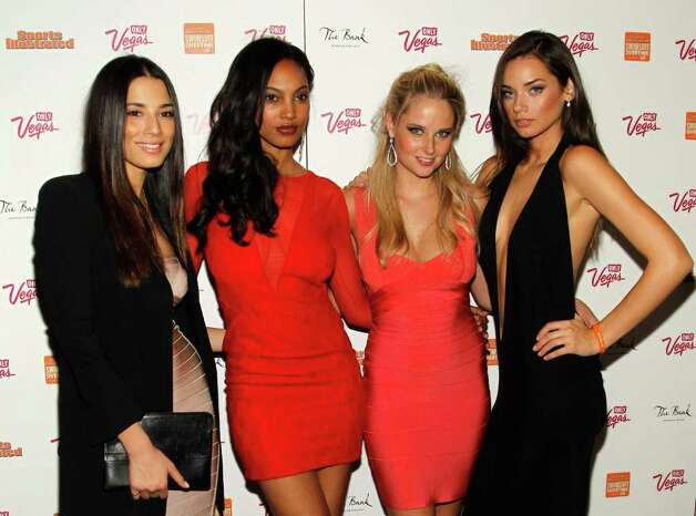 (L-R) SI swimsuit models Jessica Gomes, Ariel Meredith, Genevieve Morton and Michelle Vawer arrive at SI Swimsuit Overtime hosted by The Bank Nightclub at the Bellagio, held at The Bank Nightclub at the Bellagio on February 16, 2012 in Las Vegas, Nevada. Photo: Isaac Brekken, Getty Images / 2010 Getty Images