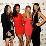 (L-R) SI swimsuit models Jessica Gomes, Ariel Meredith, Genevieve Morton and Michelle Vawer arrive at SI Swimsuit Overtime hosted by The Bank Nightclub at the Bellagio, held at The Bank Nightclub at the Bellagio on February 16, 2012 in Las Vegas, Nevada.