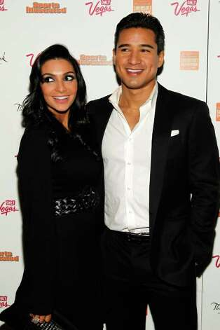 TV personality Mario Lopez (R) and Courtney Mazza arrive at SI Swimsuit Overtime hosted by The Bank Nightclub at the Bellagio, held at The Bank Nightclub at the Bellagio on February 16, 2012 in Las Vegas, Nevada. Photo: Isaac Brekken, Getty Images / 2010 Getty Images