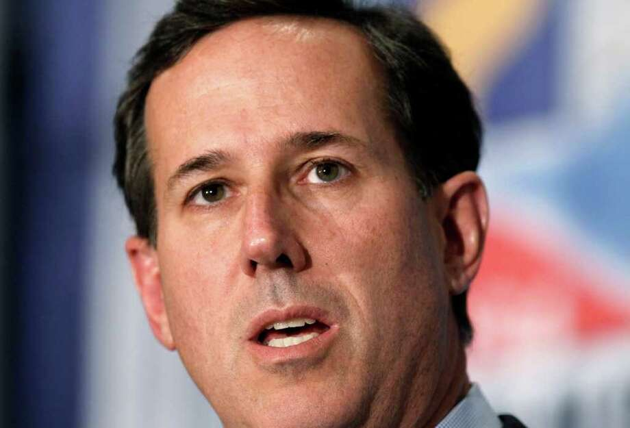 Republican presidential candidate, former Pennsylvania Sen. Rick Santorum speaks during a Economic Club of Detroit luncheon in Detroit, Thursday, Feb. 16, 2012. (AP Photo/Paul Sancya) Photo: Paul Sancya