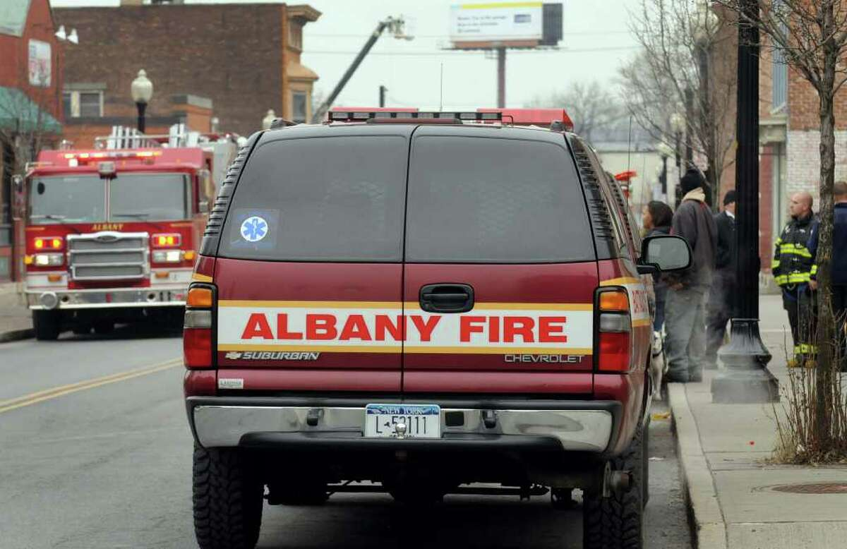 Firefighters at a call on South Pearl in Albany, New York Wednesday Feb.15, 2012.( Michael P. Farrell/Times Union)