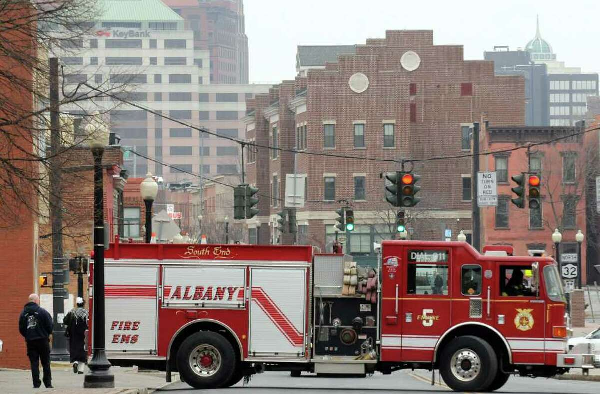 A fire truck backs in to the South End Station on South Pearl in Albany, New York Wednesday Feb.15, 2012.( Michael P. Farrell/Times Union)