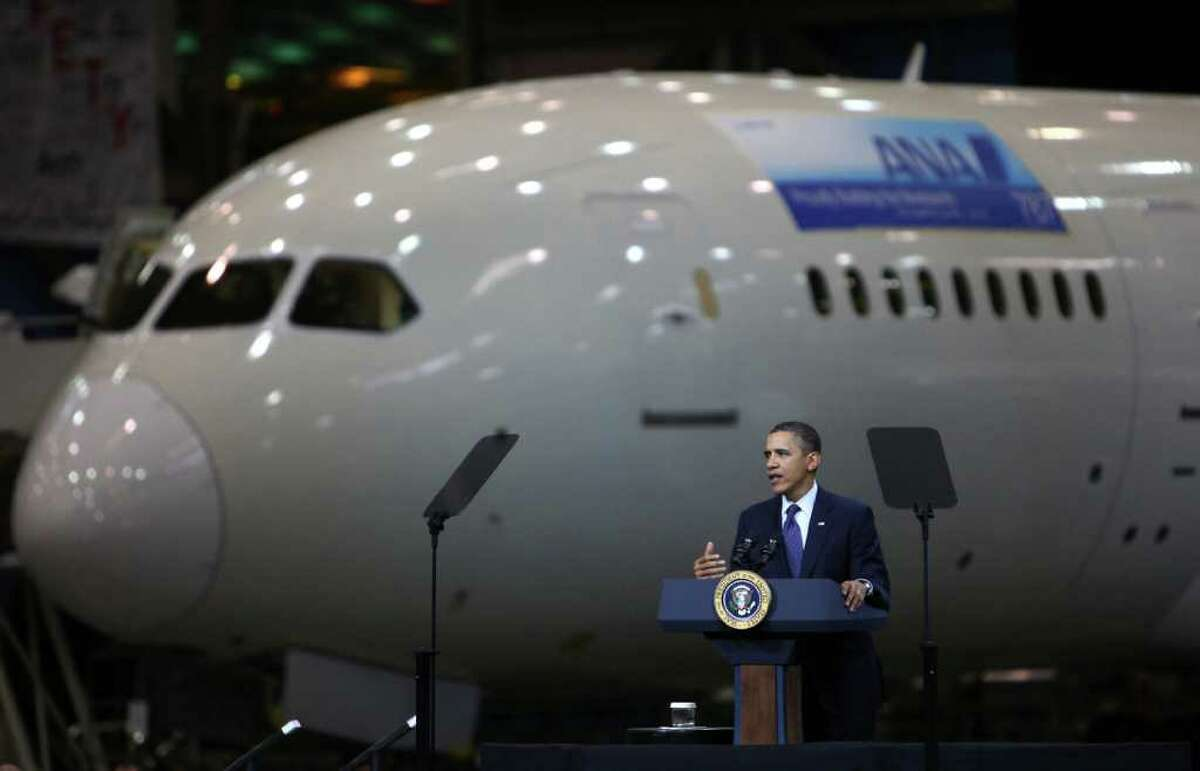 U.S. President Barack Obama speaks during a tour and speech on the floor of the Boeing 787 Dreamliner assembly line on Friday February 17, 2012 in Everett. The president spoke about manufacturing and increasing American exports. He also applauded recent successes at Boeing. The president's visit was his final stop during a three state West Coast tour.