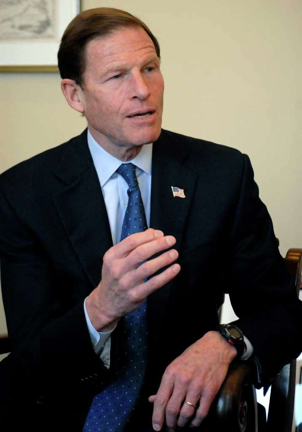 Sen. Richard Blumenthal, D-Conn., in his Washington office on Wednesday, Feb. 15, 2012, discusses his first year in the U.S. Senate. BlumenthalâÄôs Washington headquarters is in the modern Hart Senate Office Building where the two-story windows in his private office open toward the eastern horizon. He commutes on weekends back home to Greenwich and travels around the state from there.