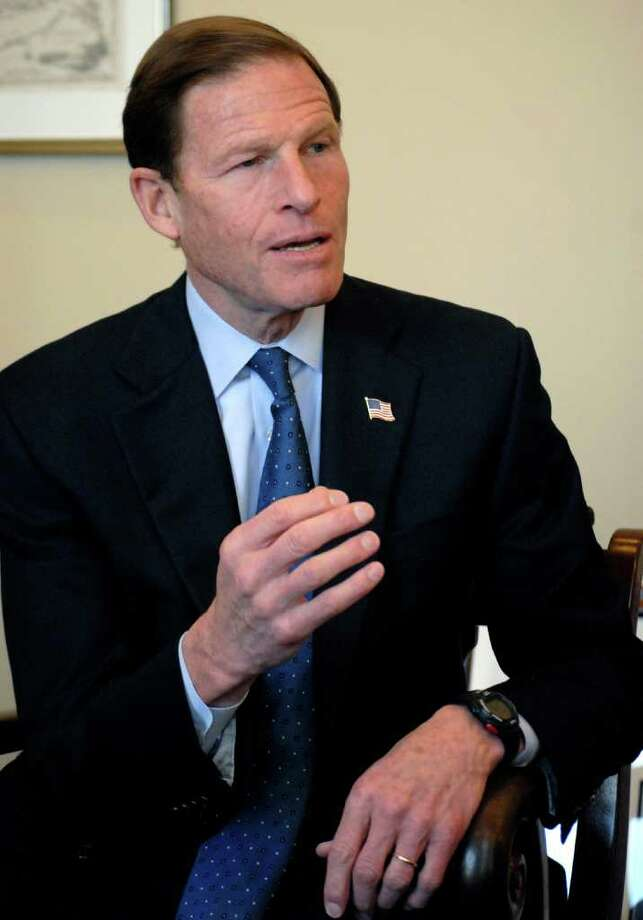 Sen. Richard Blumenthal, D-Conn., in his Washington office on Wednesday, Feb. 15, 2012, discusses his first year in the U.S. Senate. BlumenthalâÄôs Washington headquarters is in the modern Hart Senate Office Building where the two-story windows in his private office open toward the eastern horizon. He commutes on weekends back home to Greenwich and travels around the state from there. Photo: For Hearst CT Newspapers\Meredit / Stamford Advocate Freelance