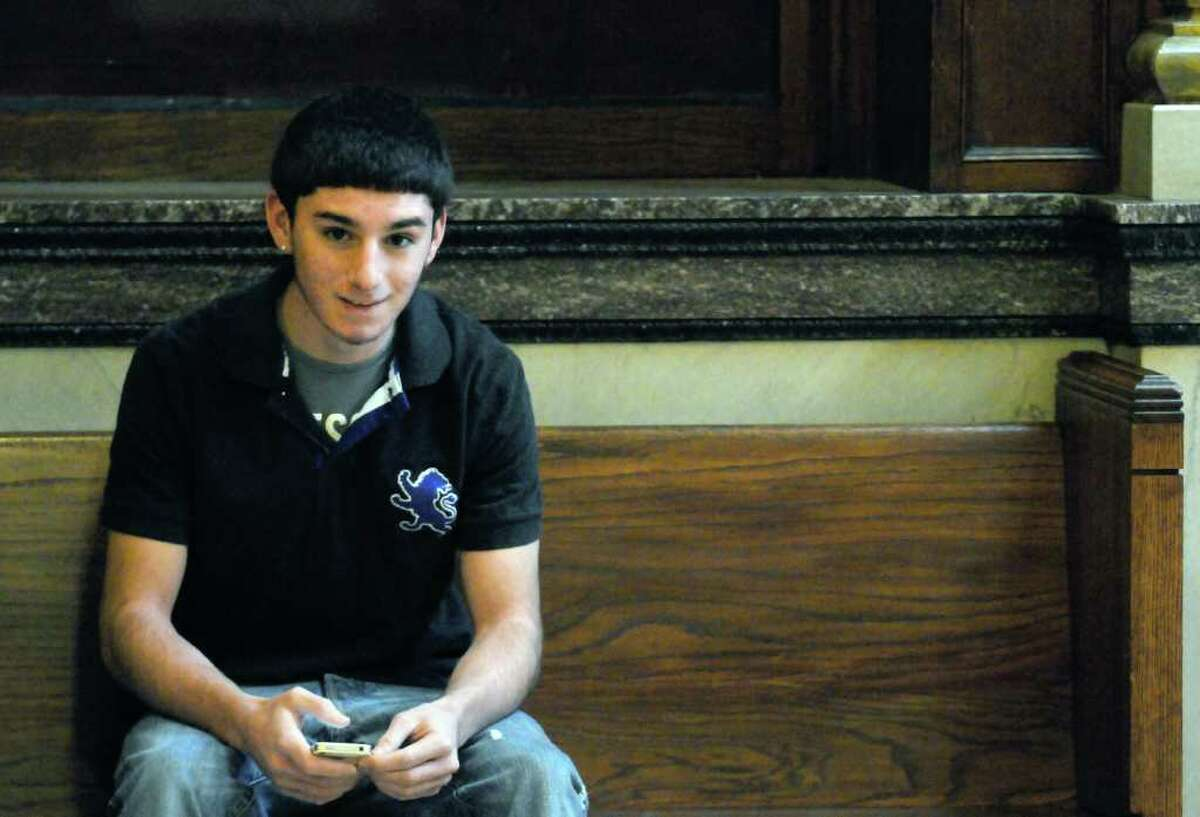 Vincent Uzzo, Troy High student, waits to enter Rensselaer County Court in Troy, N.Y. Friday Feb.17, 2012. ( Michael P. Farrell/Times Union)