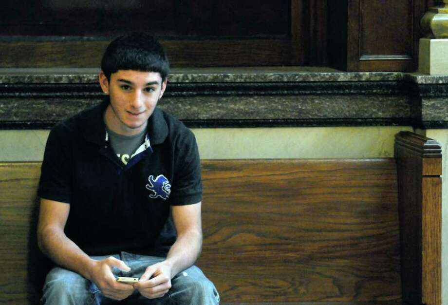 Vincent Uzzo, Troy High student, waits to enter Rensselaer County Court  in Troy, N.Y. Friday Feb.17, 2012. ( Michael P. Farrell/Times Union) Photo: Michael P. Farrell