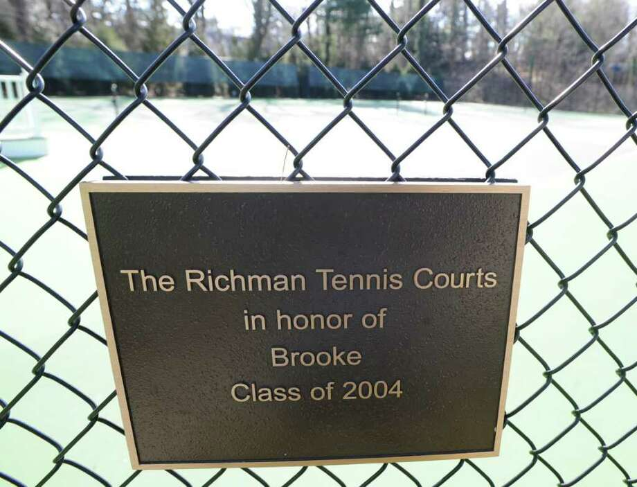 "A plaque reads ""The Richman Tennis Courts in honor of Brooke, Class of 2004,"" at Greenwich Academy Feb. 17, 2012. A judge has ruled the school can use its tennis courts during the summer months. Photo: Bob Luckey / Greenwich Time"