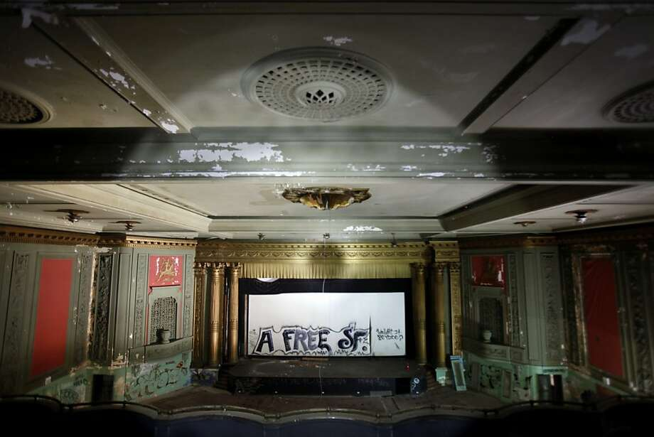 The theater's screen, and hallway were vandalized in 2006. Photo: Sarah Rice, Special To The Chronicle