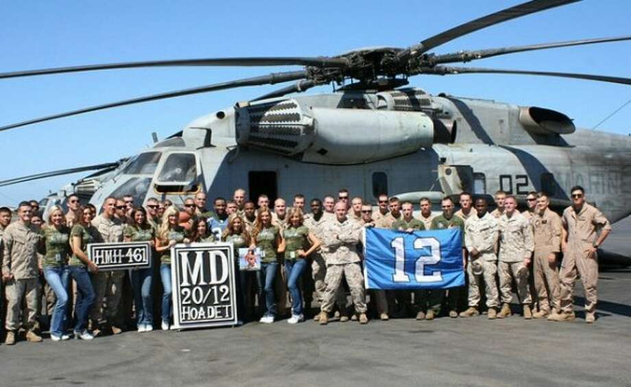 Sea Gals and Seahawks cornerback Roy Lewis visit troops at Shaikh-Isa Air Base in Bahrain. (Seahawks.com)