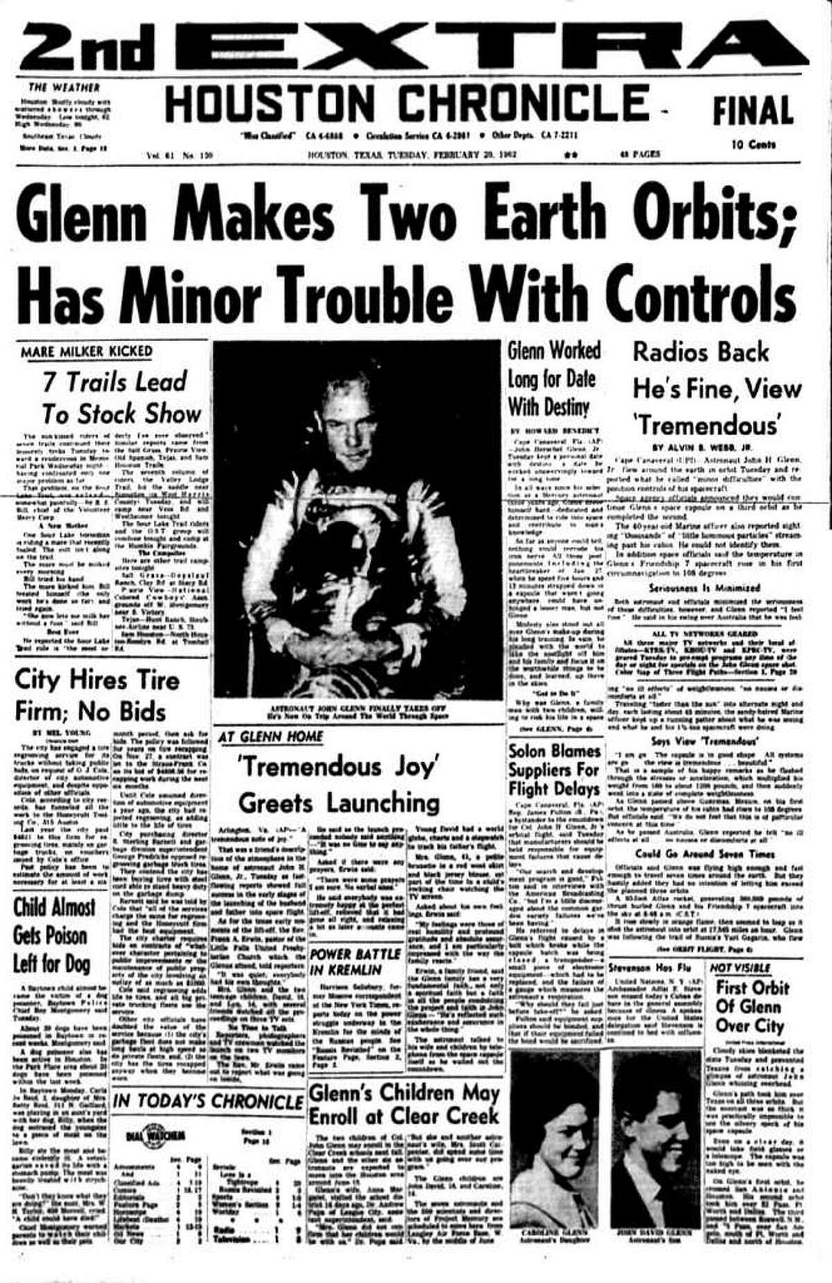 This special extra edition of the Feb. 20, 1962, Chronicle heralds Glenn's triumphant mission, which was still in orbit when the presses rolled.