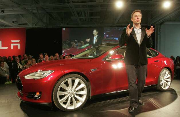 CEO of Tesla Motors Elon Musk addresses the audience during an event promoting the company's new Model S automobile in Fremont, Calif., on Saturday, Oct. 1, 2011. Photo: Mathew Sumner, Special To The Chronicle
