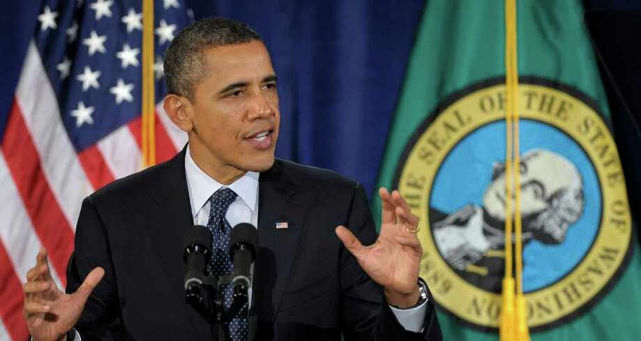 President Barack Obama speaks at a fundraiser in Bellevue, Friday, Feb. 17, 2012. Obama is on a three-day trip to the West Coast. Photo: AP