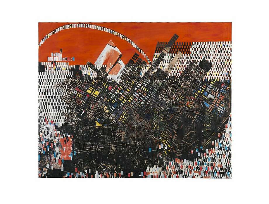 """Scorched Earth"" (2006) billboard paper, photomechanical reproductions, acrylic gel medium, carbon paper, acrylic paint, bleach, and additional mixed media on canvas by Mark Bradford    94 1/2 x 118 inches; Photo: Bruce M. White"
