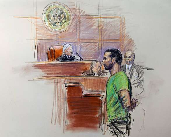 This artist rendering shows Amine El Khalifi before U.S. District Judge T. Rawles Jones Jr. in federal court in Alexandria, Va., Friday, Feb. 17, 2012. El Khalifi, a 29-year-old Moroccan man was arrested Friday near the U.S. Capitol as he was planning to detonate what he thought was a suicide vest, given to him by FBI undercover operatives, said police and government officials. Photo: Dana Verkouteren, Associated Press