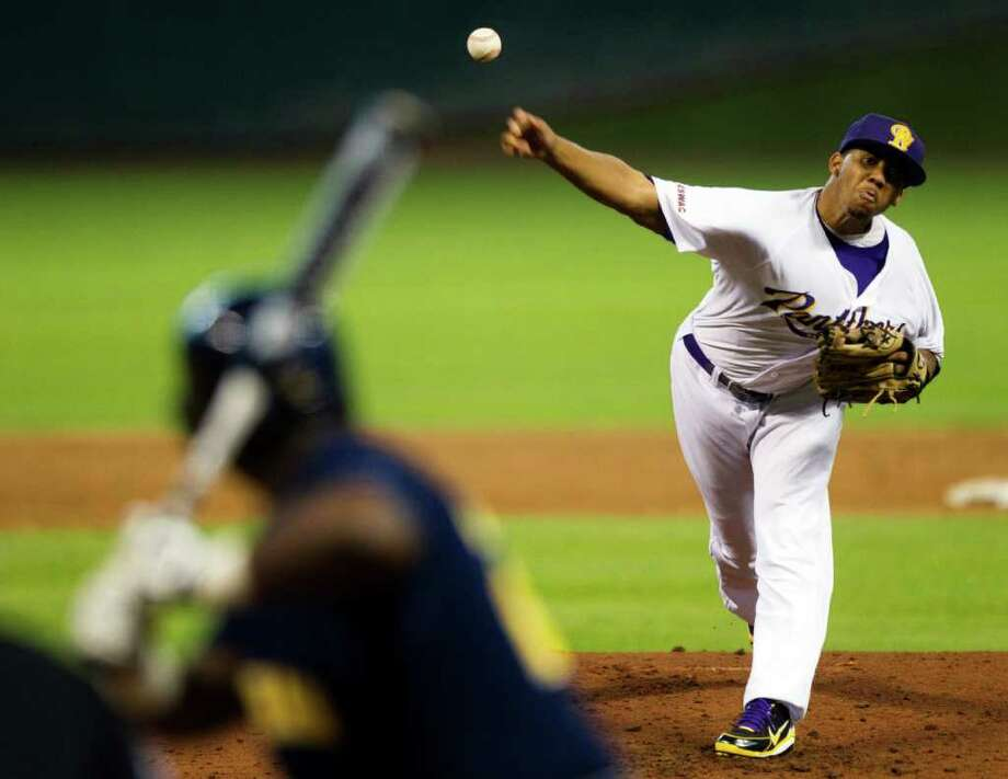 Feb. 17: Southern 6, Prairie View 0 - Prairie View pitcher DeLeon Boyd throws to Southern's Elliot Jones during an Urban Invitational NCAA college baseball round-robin tournament game at Minute Maid Park, Friday, Feb. 17, 2012, in Houston. Photo: Brett Coomer, Associated Press / © 2012 Houston Chronicle