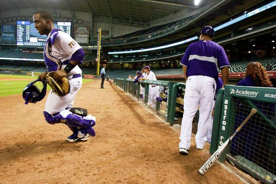 Prairie View catcher Evan Richard takes the field against Southern University during The Urban Invitational college baseball round-robin tournament at Minute Maid Park Friday, Feb. 17, 2012, in Houston. Southern beat Prairie View 6-0. Photo: Brett Coomer, Houston Chronicle / © 2012 Houston Chronicle