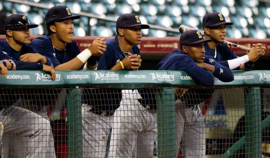 Southern University players watch from the dugout against Prairie View during The Urban Invitational college baseball round-robin tournament at Minute Maid Park Friday, Feb. 17, 2012, in Houston. Southern beat Prairie View 6-0. Photo: Brett Coomer, Houston Chronicle / © 2012 Houston Chronicle