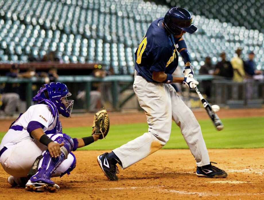 Southern University's  Cameron McGriff hits a RBI  during The Urban Invitational college baseball round-robin tournament at Minute Maid Park Friday, Feb. 17, 2012, in Houston. Southern beat Prairie View 6-0. Photo: Brett Coomer, Houston Chronicle / © 2012 Houston Chronicle